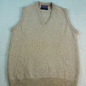 Vintage Pendleton Lambswool Tan Vest Medium